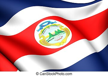 Flag of Costa Rica Close up Front view