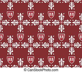 Seamless brown victorian royal vector texture with fleur-de-lis