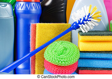 Assortment of means for cleaning