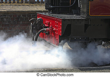 Passenger Steam Train - Passenger Steam train venting steam