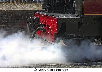 Passenger Steam Train - Passenger Steam train venting steam