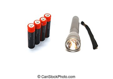 Flashlight with batteries - photo of the flashlight with...