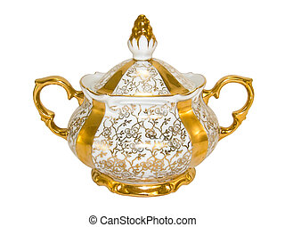 Gold porcelain sugar bowl from an old antique tea-set on a...