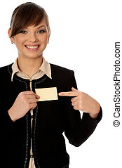 business conference - woman showing her badge at the...