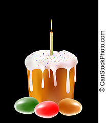 Easter cake with colored eggs and a candle