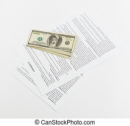 stack hundreds dollars on contract Document background
