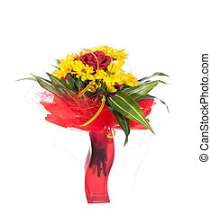 Bouquet of fresh flower on white background photo