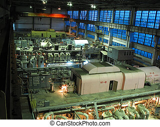 steam turbines, machinery, pipes, tubes at a power plant -...