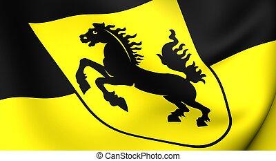 Flag of Stuttgart city, Germany Close up