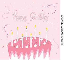 Happy birthday greeting card, pink background