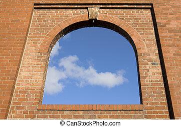 parede, Janela, arco, tijolo
