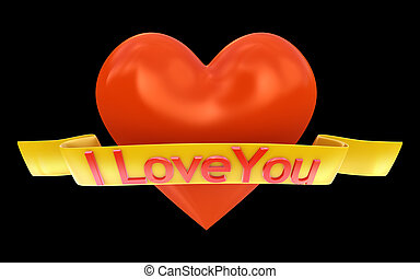 Red heart with I love you sign