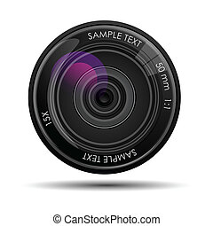 Camera Lense - illustration of camera lense against white...