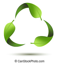 Recycle symbol with leaf - illustration of recycle symbol...