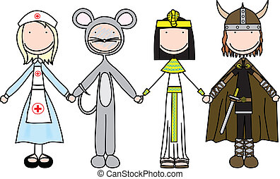 Happy kids - Vector illustration of four kids holding hands...
