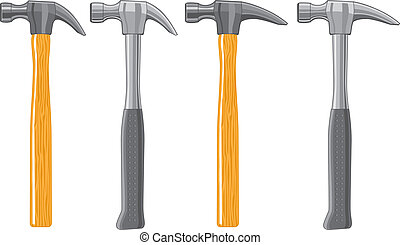 Claw Hammers - Illustration of four claw hammers Two are...