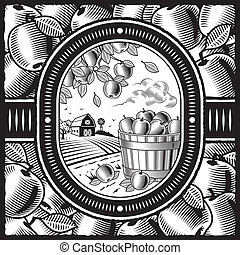 Apple harvest black and white - Retro apple harvest in...