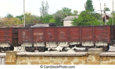 Loaded freight train wagon