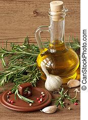 azeitona, óleo, alho