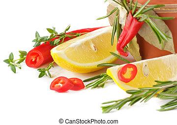 Chile, pimenta, limão