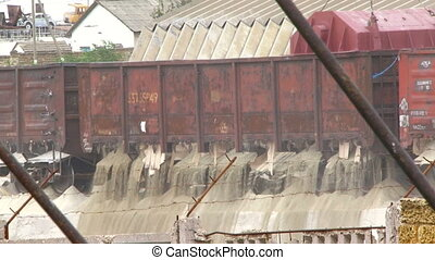 Unloading the wagon - Freight train arrives at its...