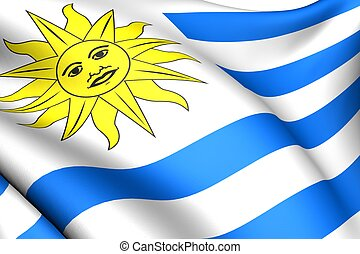 Flag of Uruguay. Close up. Front view.