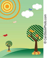 Retro Landscape with Trees and Birds Season Spring