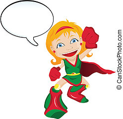 Super hero Girl with Speech Bubble - Vector - Super hero...