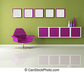 colored living room with purple fashion armchair - rendering