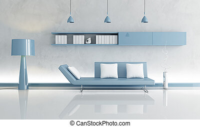 gray and blue living room - clear blue couch in a grey...