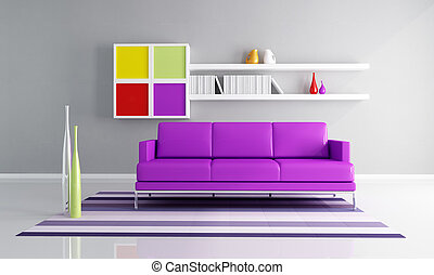 colored contemporary living room - purple couch and colored...