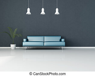 blue living room - blue minimalist interior with modern...