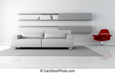 gray lounge - gray minimalist living room with couch and red...