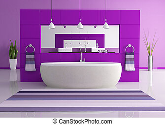 purple contemporary bathroom