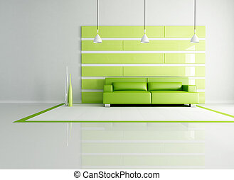 green minimalist interior