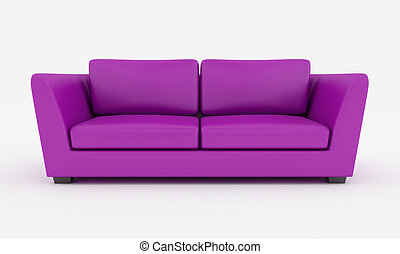 purple modern couch - purple modern sofa isolated on white -...