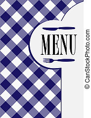 Menu Card Design - Menu Sign and Cutlery Symbol on Dark Blue...