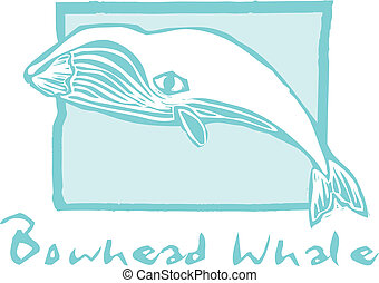 Bowhead Whale - Woodcut vintage style image of a bowhead...