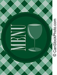 Menu Card Design - Menu Sign and Wine Glass Symbol on Dark...