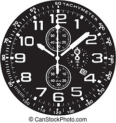 Clock Watch Vector vector trace of image