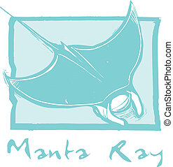 Manta ray in Blue - Manta ray swims in the ocean in a...