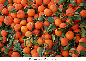 Clementines with leafs.