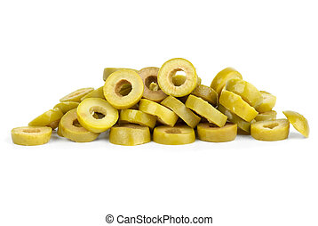 Small pile of sliced green olives