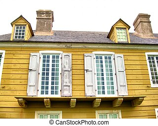 Vintage French window shutters - Yellow is a color liked in...