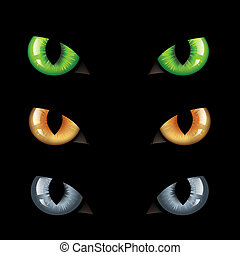 Cat Eyes n Darkness - 3 Wild Cat Eyes, On Black Background,...