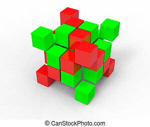 3d image cubes on white