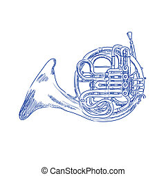 French Horn - sketch of a french horn in blue ink