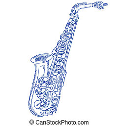 Sketched Saxophone - sketch of a saxophone in blue ink