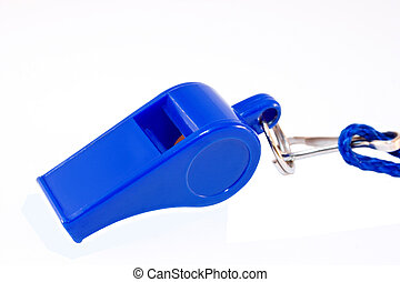 blue whistle isolated on white