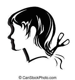 silhouette, capelli, stile, faccia